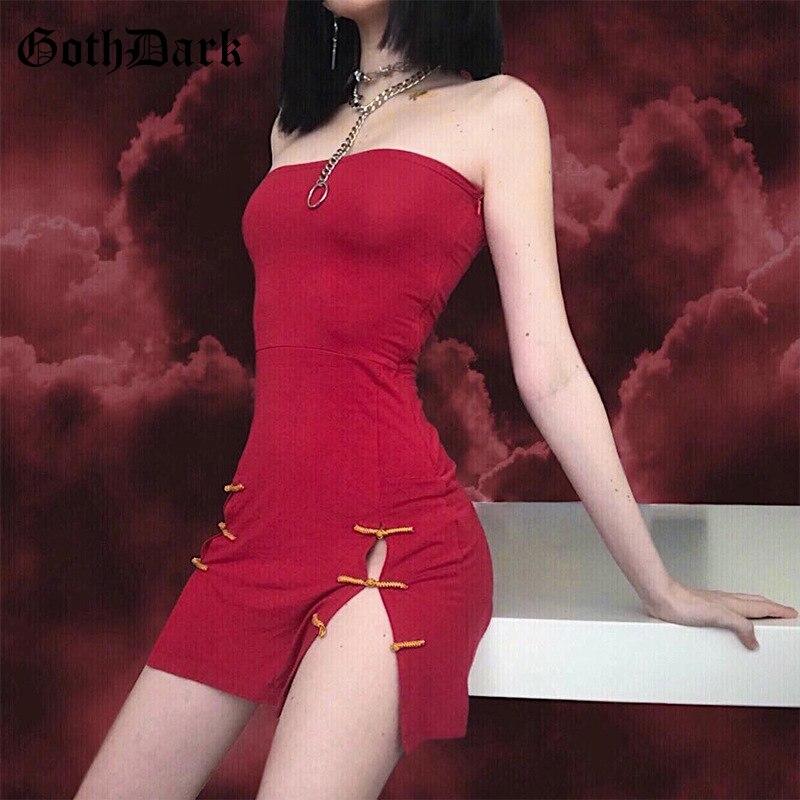 Goth Dark Aesthetic Solid Red Split Dresses For Women Gothic Blackless Spaghetti Strap Elegant Dress Button Bodycon Summer 2019