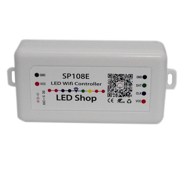 DC5-24V SP108E smart led pixel wifi controller durch telefon iOS Android APP Für WS2811 WS2812B WS2813 SK9822 APA102 led streifen licht