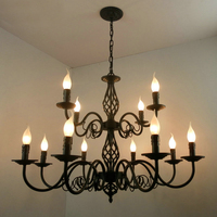Luxury Rustic Wrought Iron Chandelier E14 Candle Black Vintage Antique Home Chandeliers For Living room European lamp lighting