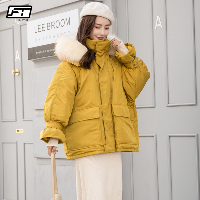 b003097488d Fitaylor Women Winter Duck Jackets Large Real Fur Hooded Short Parkas Female  Slim Warm White Duck
