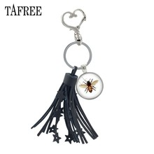 TAFREE Lovely Animals Bird Bee Art photo Black Tassel Pendant Keychain Round Glass Cabochon Heart Clasp Bag Key Ring Holder T182(China)