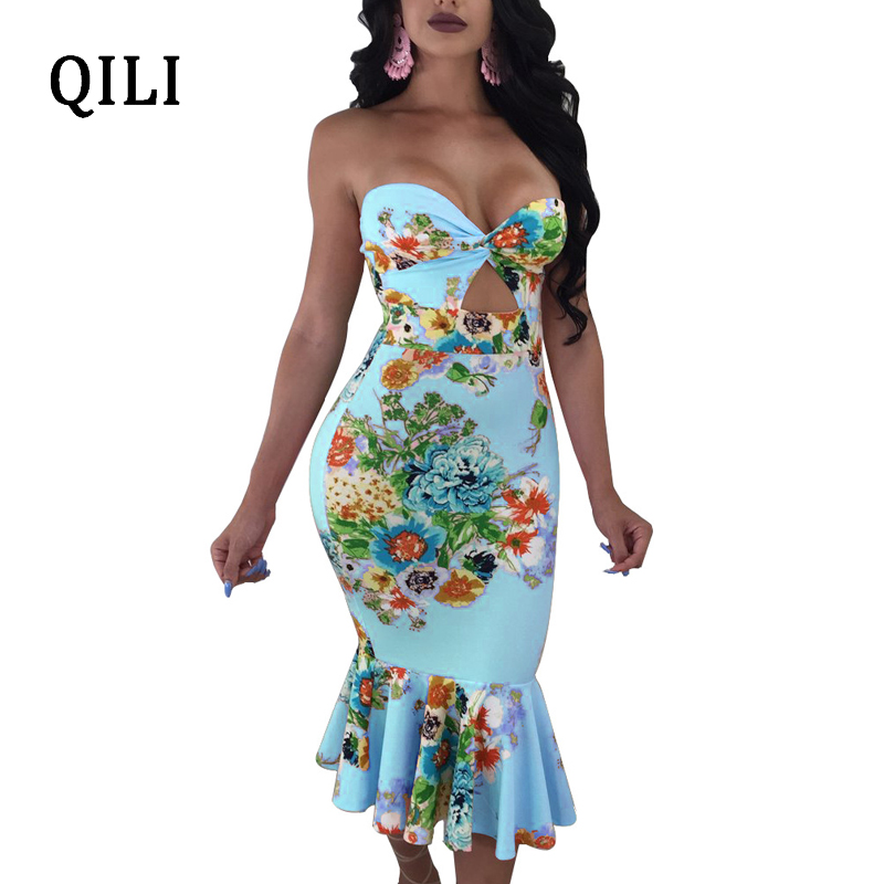 QILI Women Off The Shoulder Dress White Yellow Pink Strapless Sexy Party Dresses Ruffles Sleeveless Printed Bodycon Female
