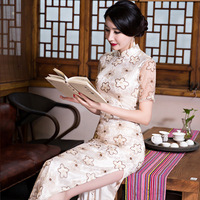 New Design Chinese Lady Cheongsam Summer Vintage Long Cheongsam Dress Slim Elegant Traditional Chinese Qipao Dresses