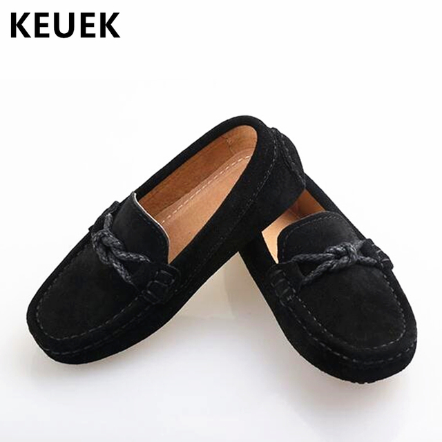 ee452a1f3e63c New Genuine Leather Shoes Children Loafers Black Moccasins Baby Toddler  Flats Boys Student Kids Dress Casual Shoes 02