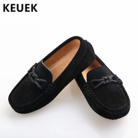 New Genuine Leather Shoes Children Loafers Black Moccasins Baby Toddler Flats Boys Student Kids Dress Casual Shoes 02