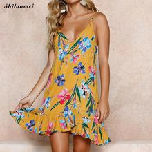 Yellow Robe Backless Camis A-Line Dresses 2018 Summer Flower Printed Beach  Sleeveless 26fb401ff475