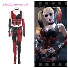 цены Batman: Arkham City Clown Girl COS Dress Arkham Knight Halle Quinn with the same leather COSPLAY costume Game Cosplay clothes