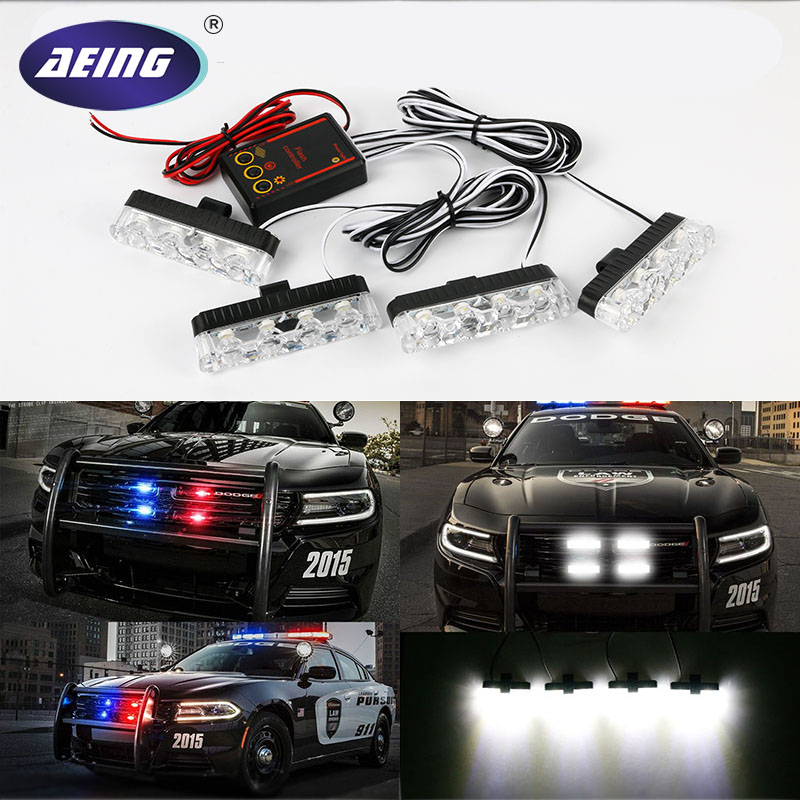 4 in 1 1 5w 80lm 6000k 4 led white light car lamps with controller 4x4 16LED 4 In 1 Car Front Grille Strobe Flashing Light Vehicle Emergency Warning Lamps Police Fireman External Lights