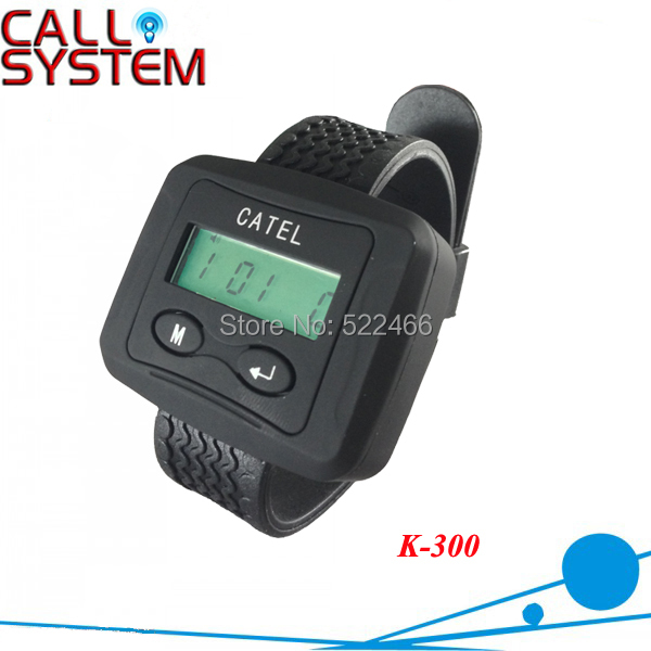 Wireless Bell System Wrist Receiver K-300 ; Can show service type and Show total coming calls service call bell pager system k 300 wrist watch receiver and 20pcs table buzzer button with single key