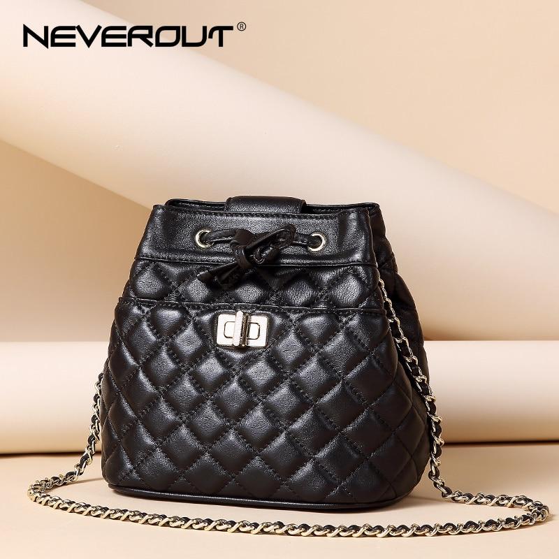 NeverOut Genuine Leather Bucket Bag Brand Name Women Shoulder Sac Lady Messenger Bags Solid Sheepskin Crossbody Lattice Mini Bag все цены