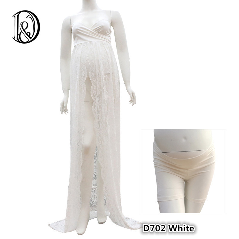 (170cm) Twisted Tube Maternity Lace Dress with Shorts Split Front Gown Free Size Stretch Maternity Photo Props Baby Shower Gift