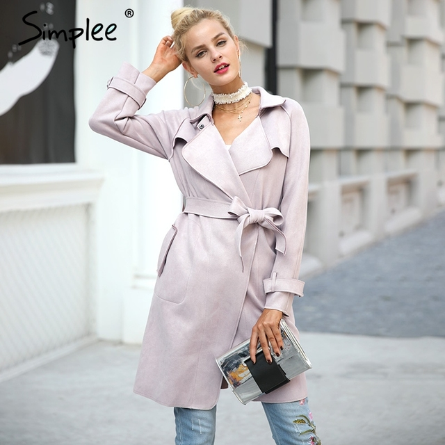 Simplee Leather suede winter autumn coat Women elegant belt  long windbreaker 2017 Casual turndown outerwear trench coat female