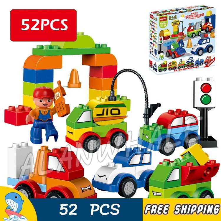 52 pz Il Mio Primo Creativo Auto Camion Città Del Bambino Gara di Pattuglia Della Polizia Modello di Blocchi di Costruzione Giocattoli Mattoni Compatibile Con Lego duplo