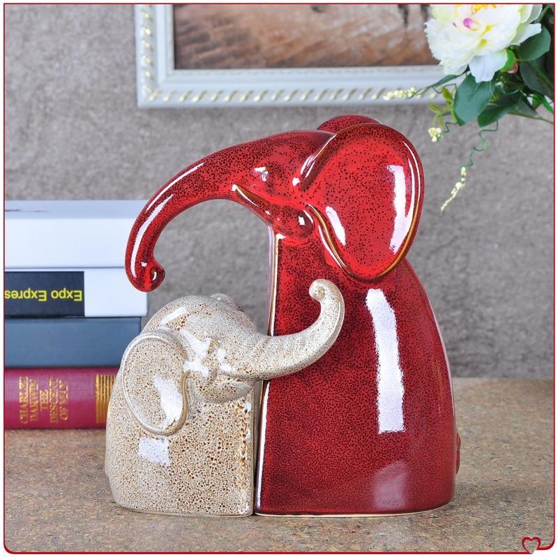 Red Retro Ceramic Elephant Family Lovers Home Decor Crafts Room Decoration Handicraft Vintage