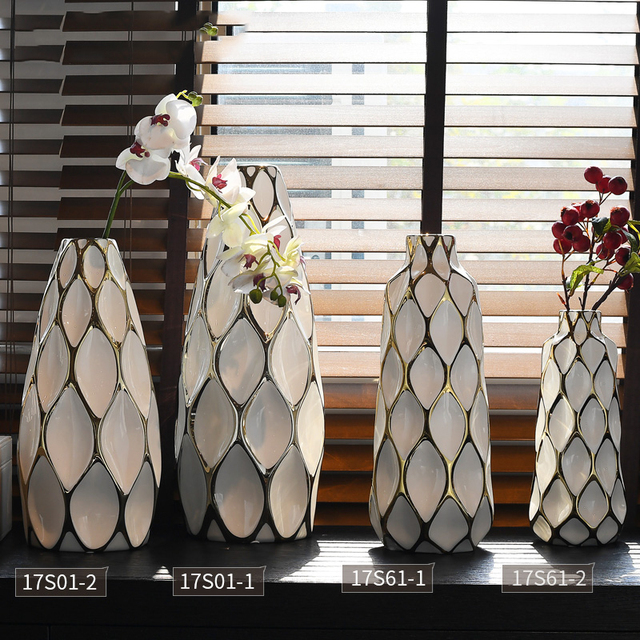 Fashion White Ceramic Blank Space Vase Hydroponic Dried Flowers Modern Dining Table Countertop Flower Basin Decoration