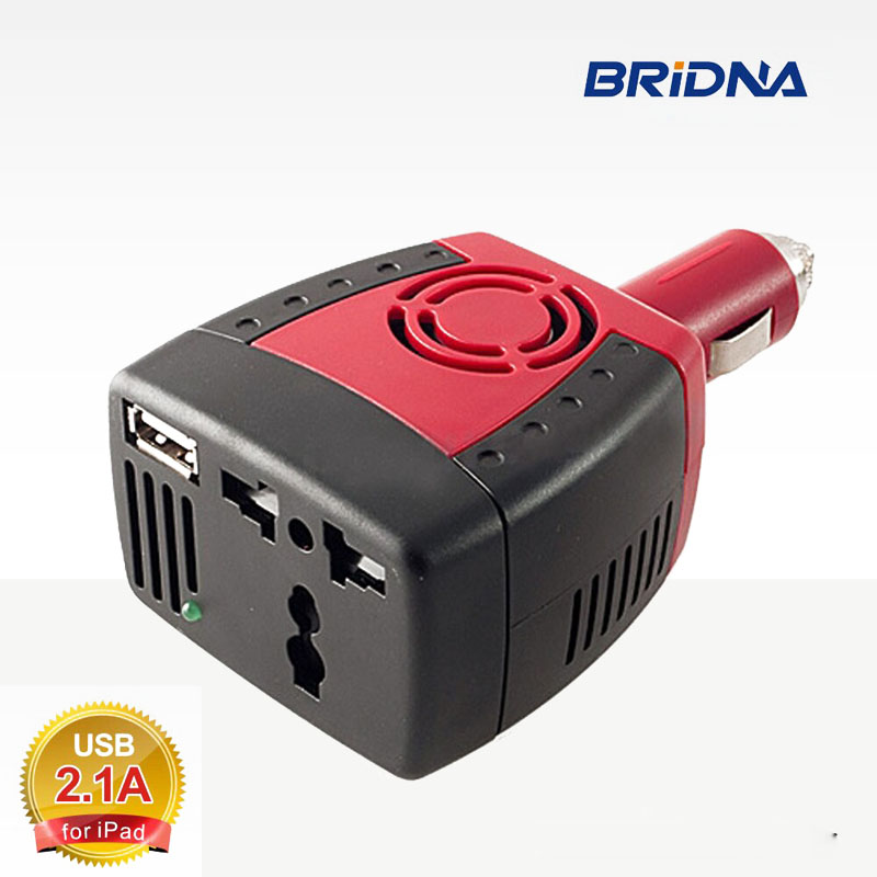 BRIDNA 150W Car Power Inverter 12V DC to 220V/110V AC converter Adapter with Cigarette Lighter and USB 2.1A/0.5A For Laptop
