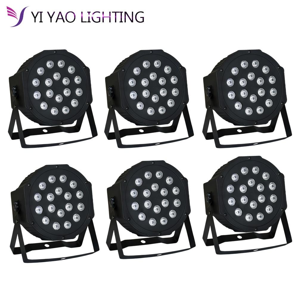 6pcs/lot 18X3W RGB LED Par lights Sound Control dj disco bar Projector stage light Large