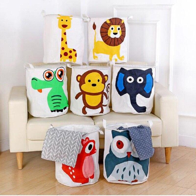 Klapp Wäsche Korb Cartoon Lagerung Barrel Stehenden Tiere Kleidung Lagerung Eimer Wäsche Veranstalter Halter Beutel Haushalt
