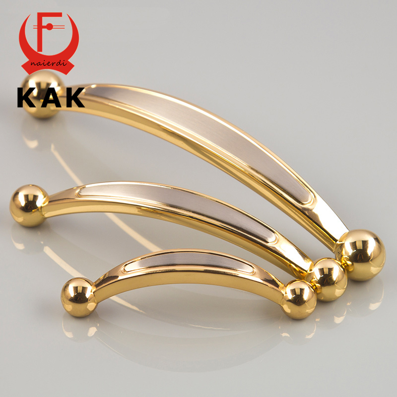 KAK Gold Door Handles Round Modern Zinc Alloy Cabinet Drawer Knobs European Wardrobe Door Handle Pulls Furniture Handles