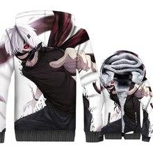 Anime Tokyo Ghoul Jacket Men kaneki ken Hoodie Punk Sweatshirt Winter Thick Fleece Warm Zipper 3D Print Coat Swag Sportswear 5XL