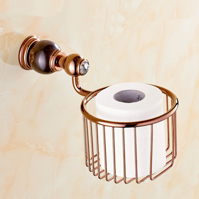 Copper Jade Rose Gold Marble Paper Towel Basket Storage Basket Bathroom  Toilet Paper Holder Bathroom Accessories