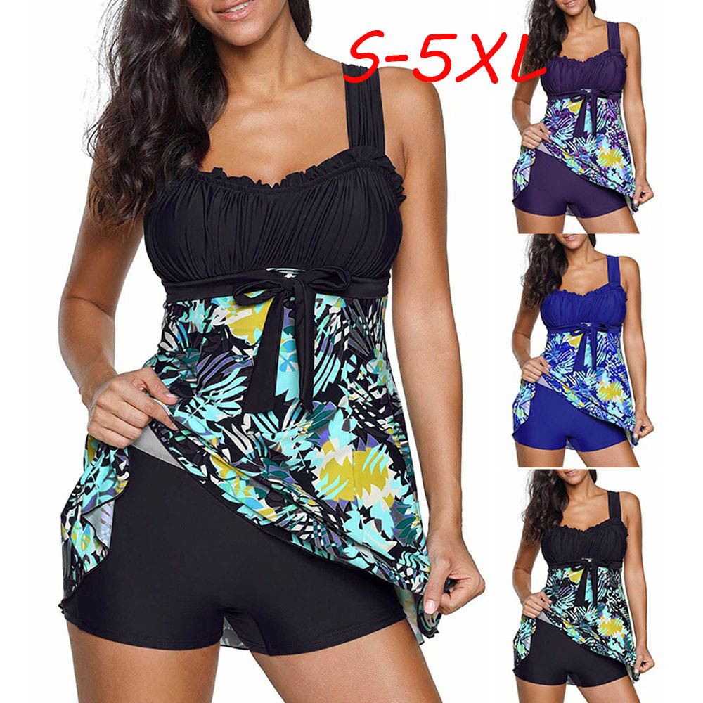 2PCS Women Floral Print Swimwear Tankini Plus Size Swimdress Beachwear Swimsuit Swimming Suit For Women Plus Size Two Pieces