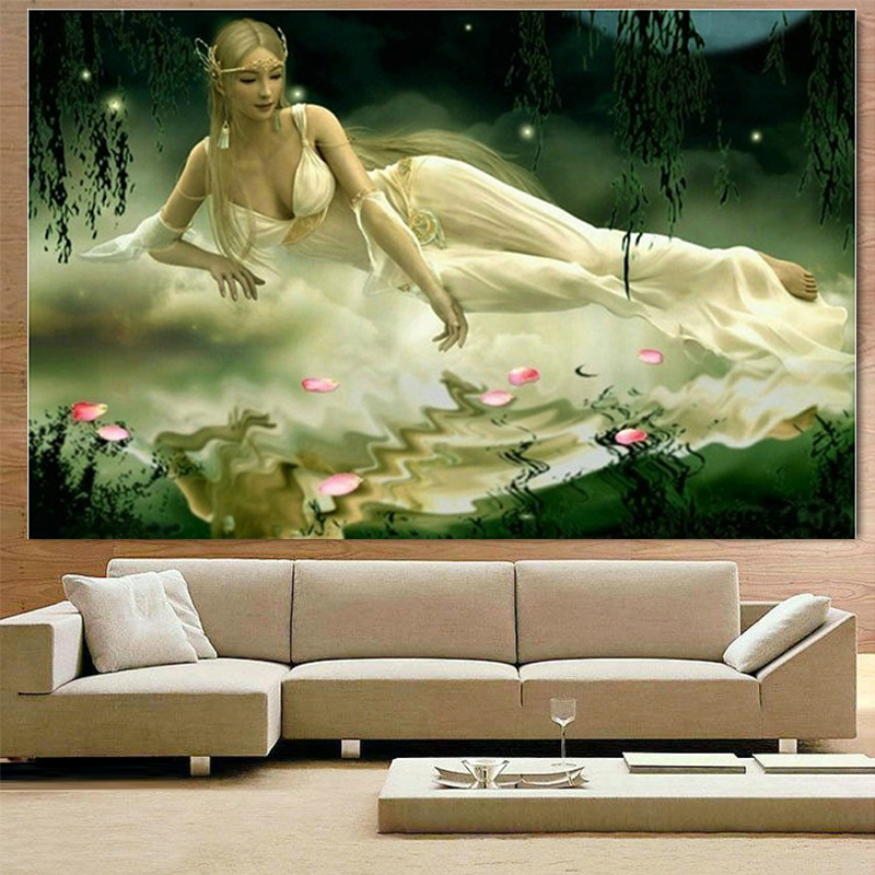 Europe Beautiful Mermaid Dmc Cross-stitch Sale Fairy Beauty Patterns Embroidered Cross Stitch Kits Home Decor In Stock People