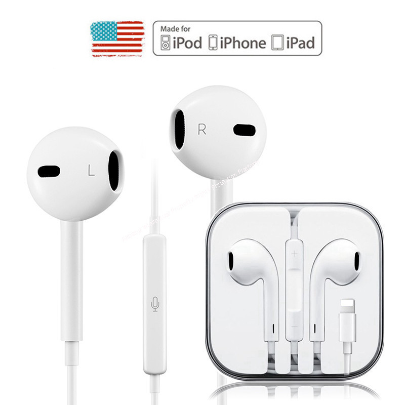 Wired Hybrid Stereo In-Ear Earphone For IPhone 7 8 Plus X XR XS Max Earphones With Microphone And Wire Sound Control