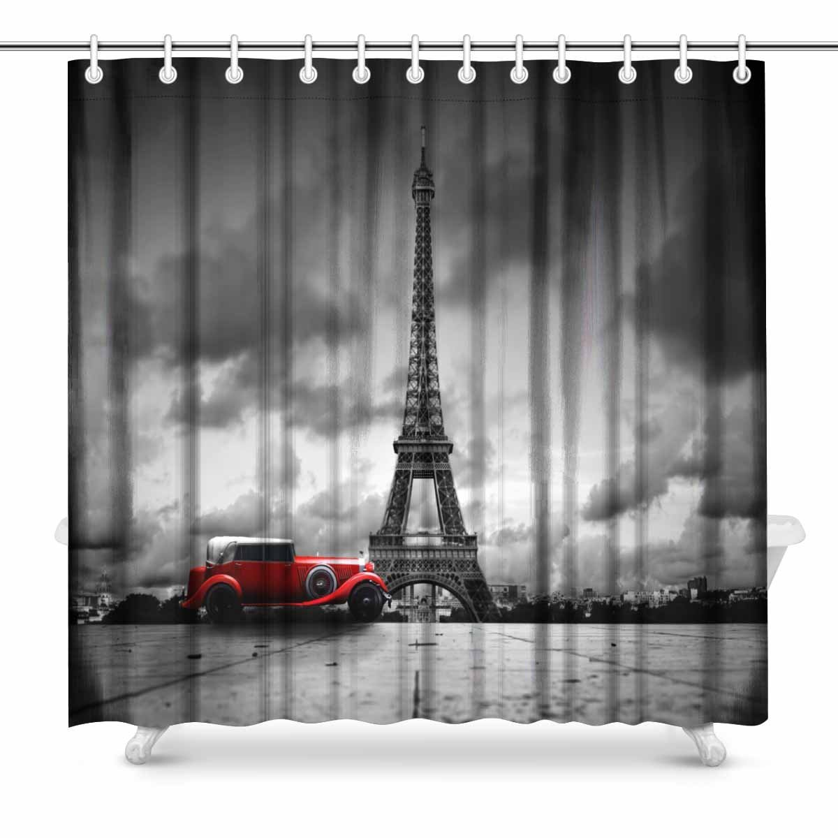 Aplysia Effel Toren Parijs Frankrijk En Rode Retro Auto Zwart-wit Vintage Badkamer Accessoires Douche Gordijnen