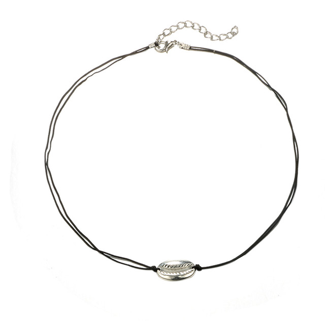 brixini.com - Vintage Metal Shell Bead Choker Necklace