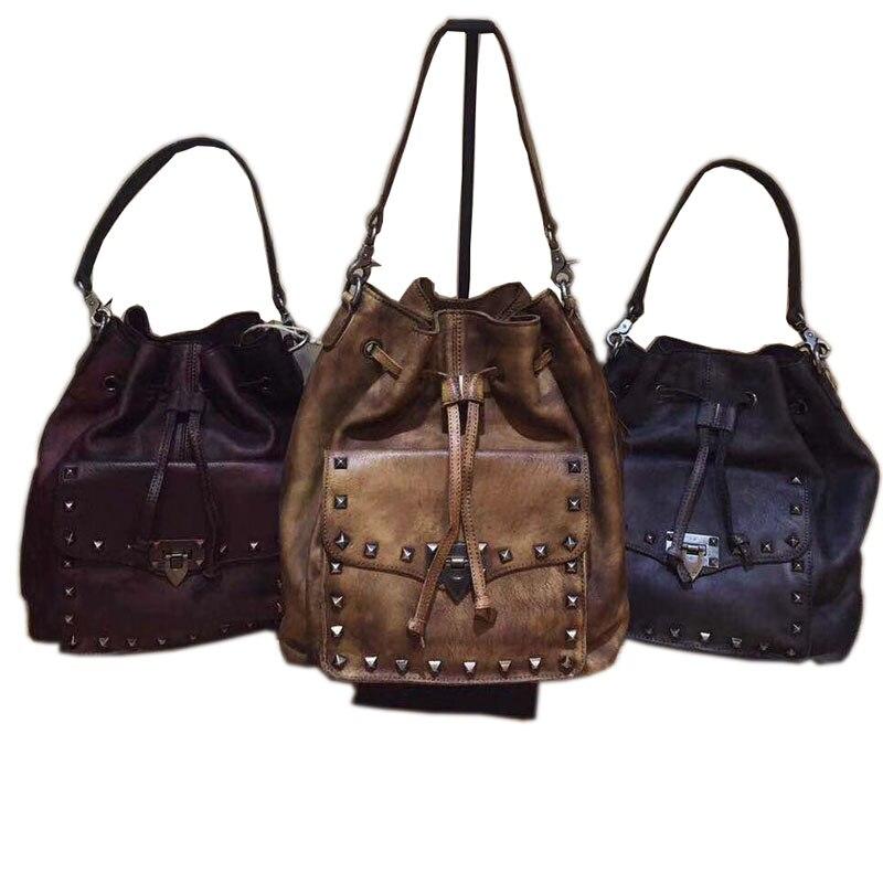 Brand New 100% Genuine Cow Leather Women Handbag Fashion Design Shoulder Vintage Female Rivets Bucket Tote Crossbody Bag 2016 new simple color block rivets design women s shoulder bag