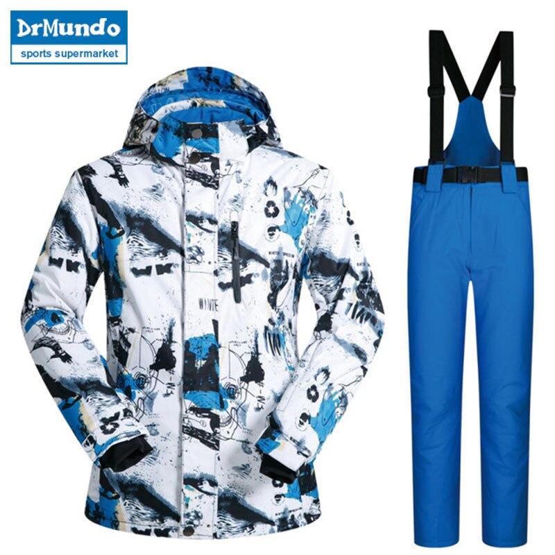 Nouveau costume de Ski en plein air hommes coupe-vent imperméable thermique Snowboard Set neige mâle vestes de Ski marques et pantalons Skiwear