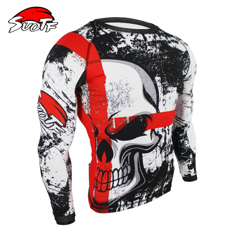 Skull Boxing Compression Jersey+Pants Rashguard KickBoxing Cycling MMA Tight Long T-Shirts Trousers Muay Thai Fightwear