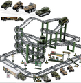 Children military Electric car toys Multi-layer Track set DIY buidling block  boy toy brinquedos juguetes educativos