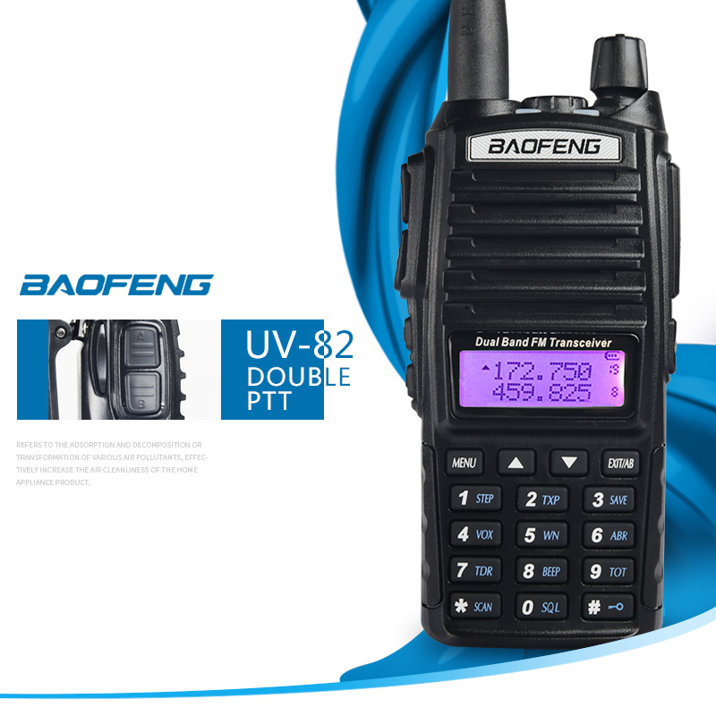 Walkie talkie BaoFeng UV-82 doble banda 136-174/400-520 MHz FM jamón Radio de dos vías, transceptor walkie talkie