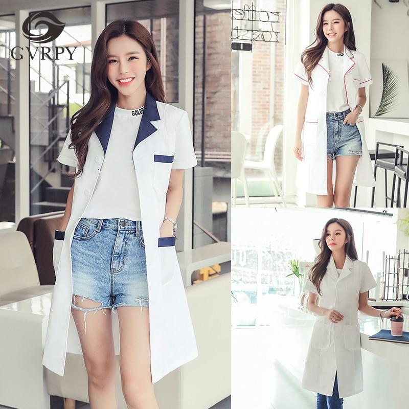 Hospital Beauty Salon Work Clothing Ladies Korean Skin Management Pharmacy Doctor Nurse Beautician Short-sleeved White Coat
