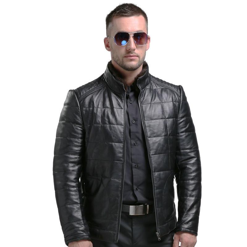 100% Pelle di Pecora Mens Del Cuoio Genuino Giù Cappotto Caldo di Inverno Jaqueta De Couro Masculina Pelle Maschile Verso Il Basso Giacche Per Uomo 1601