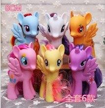 6 stycken storlek: 8 cm eller 13 cm liten pvc Action Leksak Figurer Hobbies Unicorn häst plysch docka för tjejer och pojkar