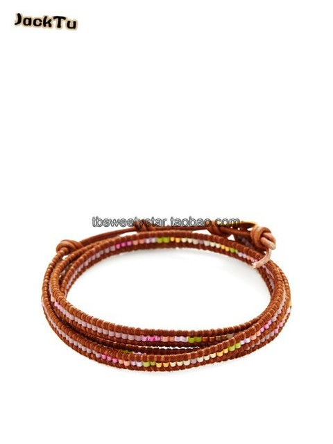 2015 new design pink mixed color seed beads mixed triple wrap bracelet