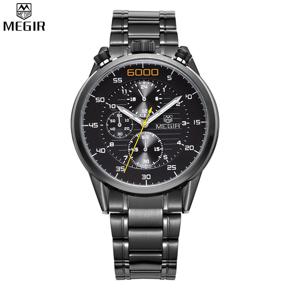 MEGIR Black Watch Top Brand Luxury Men Full Steel Watches Chronograph 6 Hands 24 Hours Military Watch Relogio Masculino /ML3005 skone chronograph 6 hands 24 hours function men sport watch silicone luxury watch men top brand military watch auto date relogio
