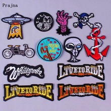 Prajna Rock Biker Patches Embroidered Patch for Clothing Badge Iron on to Cloth Shirts Punk Stickers DIY Hippie Applique F