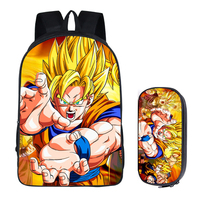 16 Inch Dragon Ball Boys Kids School Bags Super Saiyan Sun Goku Backpack For Teenagers Daily