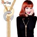 DuoTang Collares Largos Borla Collar de Oro de Aleación de Zinc de Moda Collar de la Declaración Collares de diamantes de Imitación Para Las Mujeres Joyería M0002