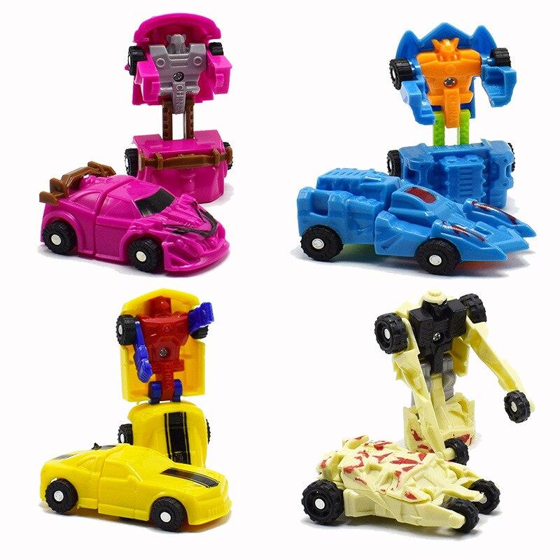 100pcs/lot Car Toys Mini Transformation Robot Truck Deformation Cars Transform Plane Ship Chariot Action Figures Kids Wholesale