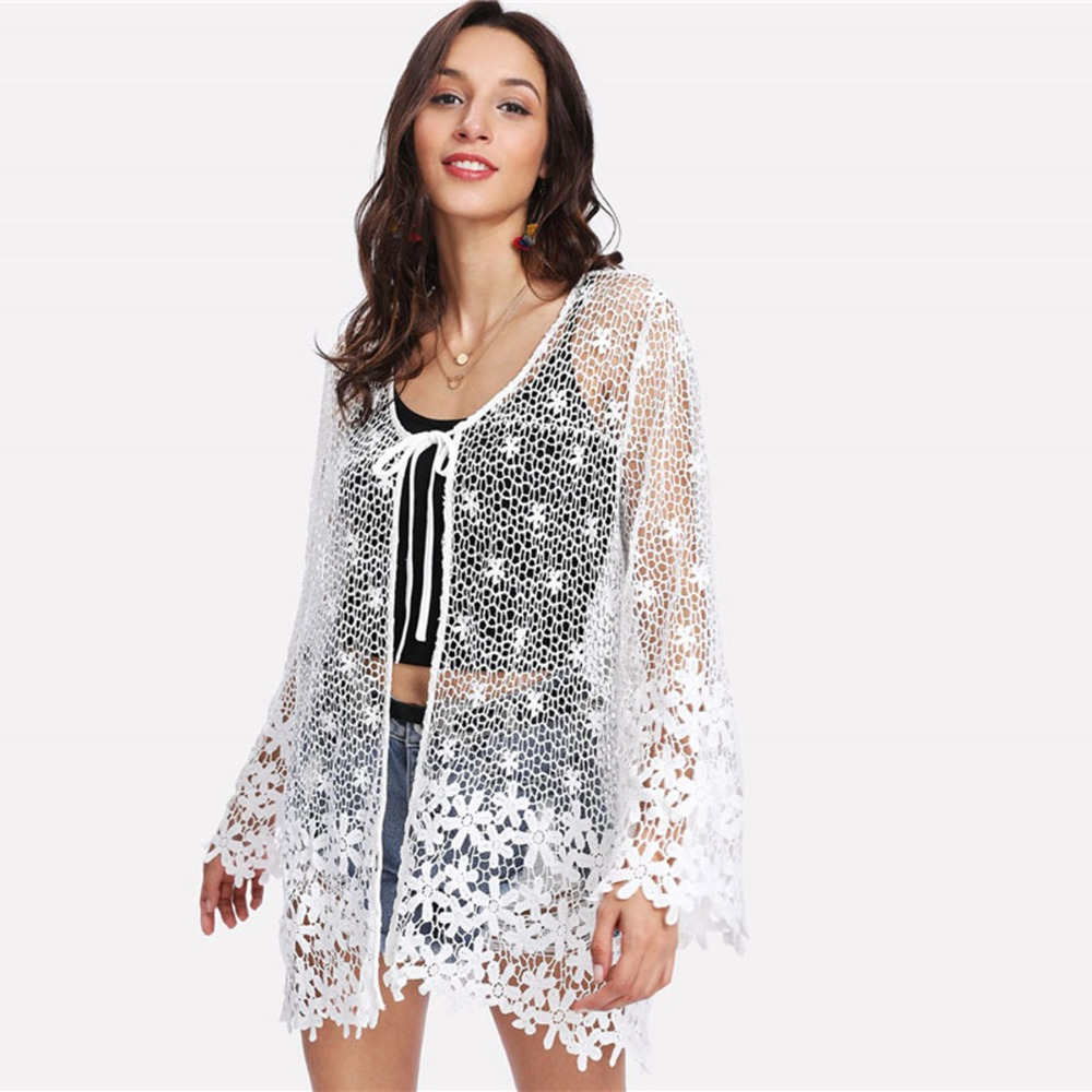 New Arrival Swimsuit Cover Up White Floral See-through Lace Cover Up Women s-xl Beach Cardigan Bathingsuit Cover Up