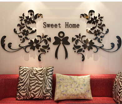 2015 Sweet Home Acrylic crystal mirror stickers European lace porch Acrylic 3d wall stickers high quality 6 colors free shipping  sweet home 3d mirror | Sweet home 3D – Glass wall 2015 font b Sweet b font font b Home b font Acrylic crystal font b mirror