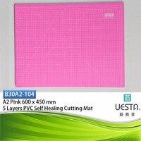 핑크 3.0 미리메터 사각형 자기 치유 5 층 PVC 절단 매트 A2 60x45 cm 24x18 인치