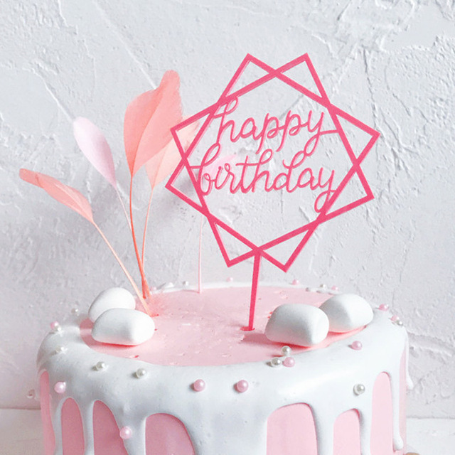 Acrylic Cake Topper Baking Pink Black Gold Happy Birthday Decorating Tools Kids Adults Party