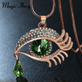 Magic Ikery 2017 Rose Gold Plated Rhinestone Crystal Luxury Eye Tear Long Necklaces Pendants Fashion Jewelry for women IK0097