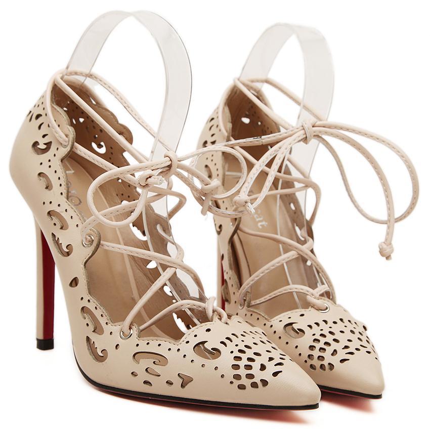 b20d91d2f5 Nuevo 2015 Sexy inferiores rojos tacones altos zapatos para mujeres calado cintas  mujer zapatos de fiesta de moda de Pigalle zapatos mujeres bombas JAM502 ...